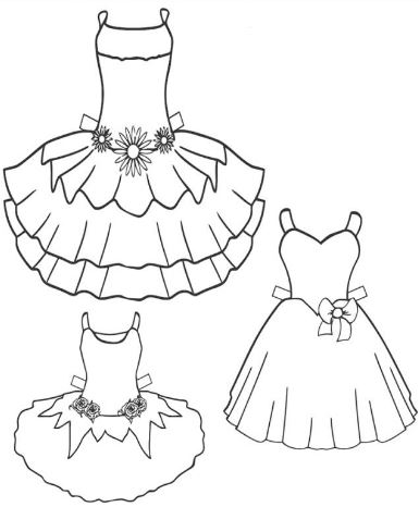 Mẫu tranh tô màu hình những chiếc đầm xinh xắn dành cho các bé gái